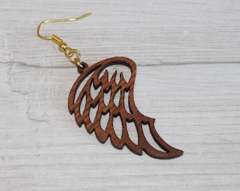 Angel wings Wooden Earrings hand made from Hard wood