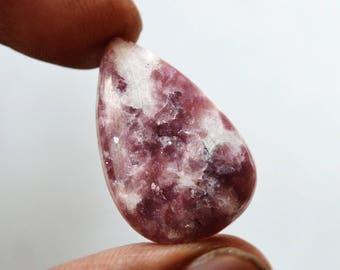 Lepidolite Gemstone Cabochon 17 Cts Natural Designer Lepidolite Pear Shape 26x17x5 MM R14299