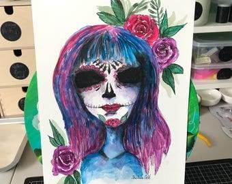 Sugar Skull Watercolour, art, watercolor art, original art, skulls, day of the dead, unframed, original,
