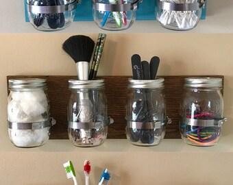 Mason Jar Wall Organizer, Bathroom Organizer, Wooden Mason Jar Organizer,Mason Jar Caddy
