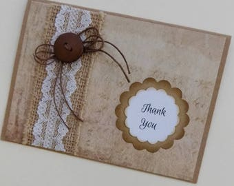 Kraft Thank You Card, Rustic Thank You, Kraft Thank You Card, Kraft Thank You, Gratitude, Appreciation, Thank You Note Card