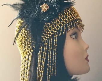 Flapper headpiece/Gatsby headpiece/1920s headdress/beaded cap/Wedding headdress/1920s accessories/1920s accessories accessories/Marie