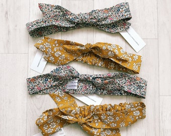 READY to SHIP Handmade Liberty of London Print Girls Knot Bow Hairband Baby Hair Accessories Tana Lawn