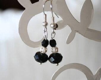 very pretty black Crystal beads earrings