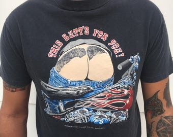 This butt's for you! Rad vintage motorcyle tee Hog bros