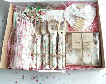 Tea-Party in a Box, Teaparty Supplies, Summer, Garden Party, Birthday, Gift Box, Surprise, Party supplies, Party Box,