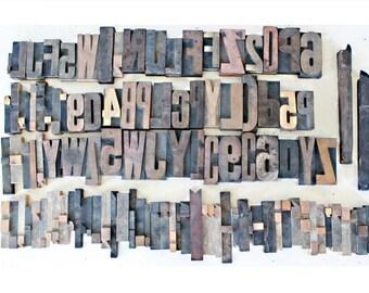 Antique Letterpress Blocks . Vintage Letterpress Block Lot . Wooden Letterpress Letters . Printers Block Letters . Printing Press Letters