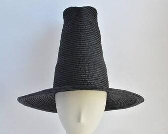 SALE Wizard Witch Black Straw Hat