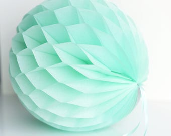 Mint Tissue paper honeycomb ball-hanging wedding party decorations-paper lantern-birthday decor-round paper ball - bright poms