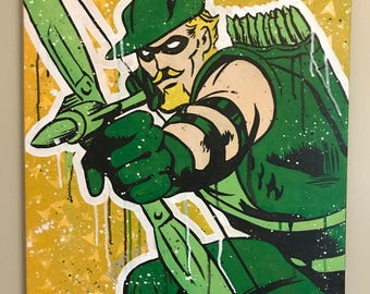 The Battling Bowman (Green Arrow) - 20x24 in