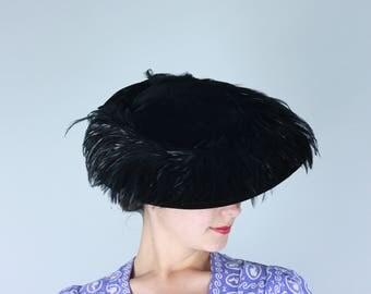Vintage 1950s Hat | Black Velvet Wide Brim Hat with Feather Trim | Size 22