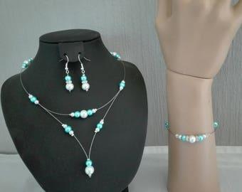 bridal set wedding jewelry set white or ivory and turquoise blue rhinestone necklace bracelet earrings bridesmaid
