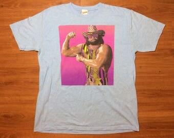 Macho man wresting t shirt mens xl 80s 90s wwf wcw randy savage