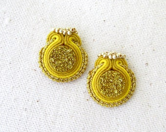 Gift for her Wedding yellow jewelry Gold druzy earrings Gold Yellow earrings Modern jewelry Yellow stud earrings Soutache Summer earrings