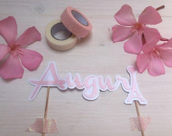 Pink themed cake topper/any color. Matte Board/pearly