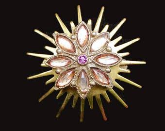 Starburst Brooch, With Orange Pink Marquis Rhinestones and a Purple Center Rhinestone In Gold Tone