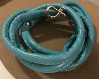 Leather Leash Sky Blue