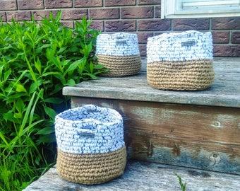 Birchbark Basket, Twine Basket, Nesting Basket, Rustic, Home Decor, Storage Basket, Crochet Basket, Home Decor