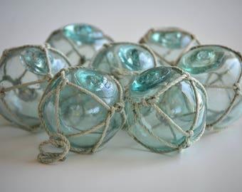 Seven Vintage Japanese Glass Fishing Floats