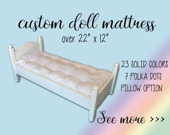 "Custom doll bed mattress over 22"" x 12"" and up to 25"" x 15"", doll pillow, solid and polka dots mattress"