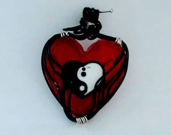 Red resin heart shaped pendant