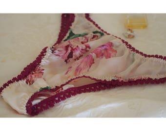 Pretty Silk Pink Floral Panties Thong Size 12