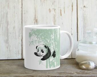 Panda Print Mug, Coffee Mug, Mama bear Cup, Coffee Gift, Ceramic Tea Mug, Drink Gifts, Green White Mug, Panda Gift, Drinkware, Printed Mug