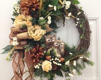 Fall Wreath. Owl Wreath. Winter Wreath. Wreath with Birds. Woodsy Wreath. Winter Wreath with Owls.