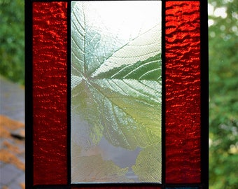 Leaded stained glass panel, red, white, blue and clear 10 x 7
