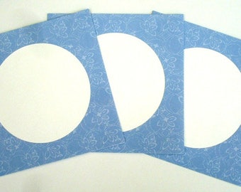 Set of 3 double blue square Lillibet with envelopes