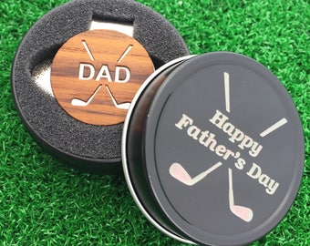 "Fathers Day ""DAD"" Teak Wood golf ball marker hat clip with OPTIONAL tin"