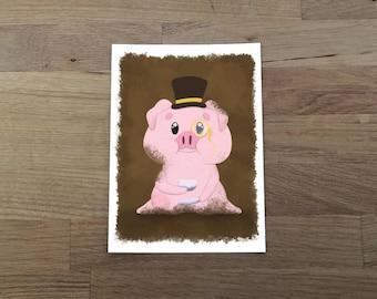 Pig Fancy Art Print 5x7, Fancy pig, Farm animal, cute print, pig lover