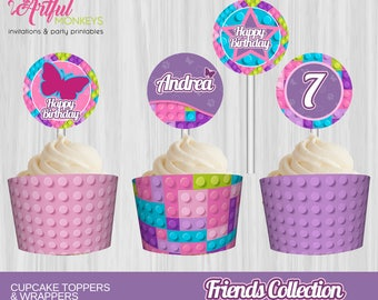 Printable Friends Building Blocks Cupcake Toppers and Wrappers | Personalized