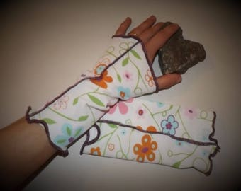 """Arm warmers mittens """"Spring"""" flowers Jersey"""