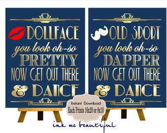 PRINTABLE Navy & Gold Bathroom Sign,Gatsby party decoration, Roaring 20s Art deco,Wedding Sign, Wedding Decor, Dollfaces, Old Sport