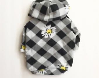 Checkered Daisy Fleece Dog Hoodie, Pet Sweater for Small Breeds