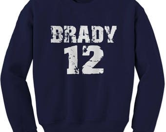 Brady #12 New England Football  Adult Crewneck Sweatshirt