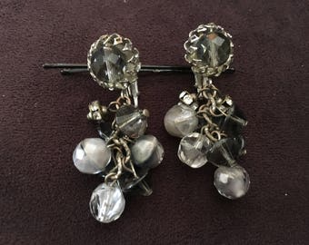 Vintage Grey, Clear and Black Glass Beaded Cha Cha Earrings 1297