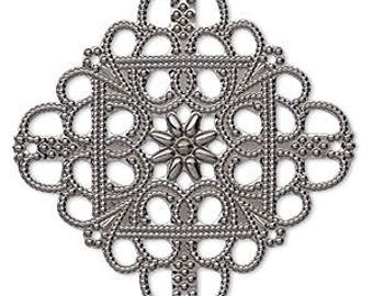 Filigree Link, Antiqued Silver, Square Filigree Focal, Single Sided, 35x35mm, 4 each, D318