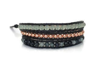 Women's Leather Bracelet - Green Aventurine Bracelet - Copper Wrap Bracelet - Beaded Wrap Bracelet -  Women's Bohemian Bracelet