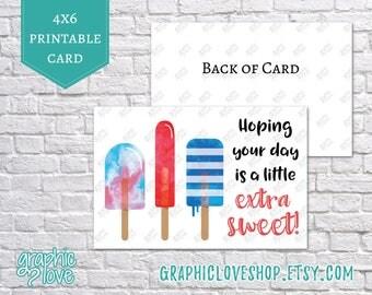 Printable Popsicle 4x6 Birthday Card/Postcard | Digital JPG Files, Instant Download