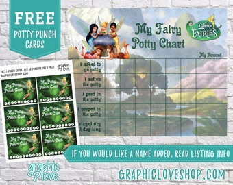 Printable Disney Fairies, Tinker Bell Potty Chart, FREE Punch Cards | Digital JPG Files, Instant download