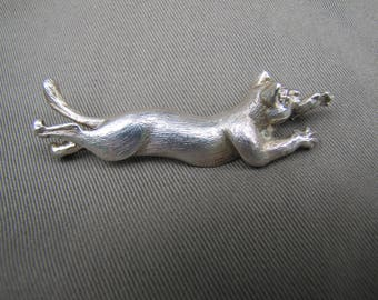 Sterling silver flying cat pin