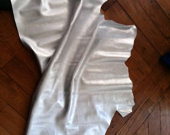 Silver color calf leather