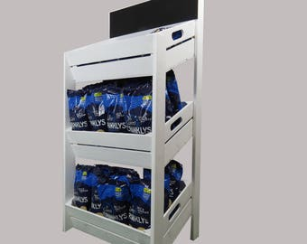 White RUSTIC WOODEN FSDU, wooden free standing display unit