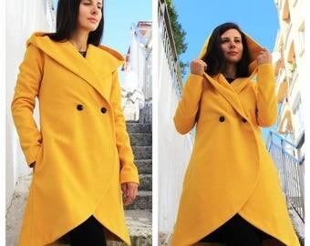 SALE Warm Winter Coat/ Designer Coat/ Gift for her/ Warm Coat/ Trench Coat/Woman Long Coat/ Cashmere Coat/ by FRKT C0016