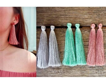 Long tassel stud earrings