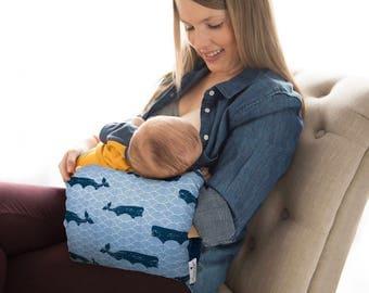 Breastfeeding Arm Pillow/Nursie/Navy and white Nursing Pillow/ Whales Breastfeeding Pillow/Arm Pillow/Arm Sleeve/Baby Gift