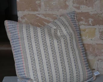 pillow case from antique linen: red blue stripes / 40*40cm