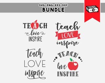 teach love inspire, teacher svg svg bundle teacher appreciation gifts, commercial use svg files for cricut, silhouette cameo files dxf files